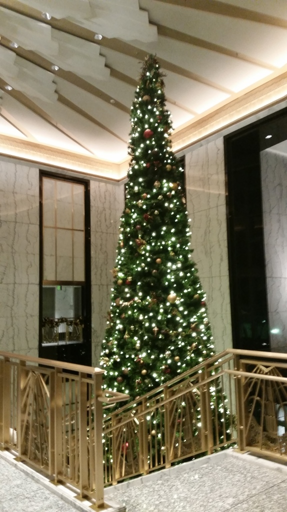 A hugely tall Christmas tree in one of the buildings we toddled through on the way to the theater.