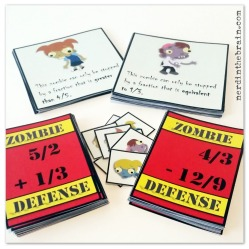 Zombie Defense Math Game: Fraction Addition and Subtraction